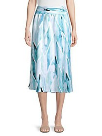 Joan Vass Ocean Print Smocked Waistband Skirt BLUE