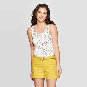 Women's Polka Dot Scoop Neck Any Day Tank Top - A