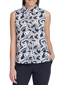 Tommy Hilfiger Paisley Sleeveless Blouse MIDNIGHT