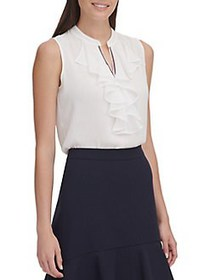 Tommy Hilfiger Ruffled Sleeveless Top IVORY