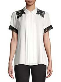 Karl Lagerfeld Paris Lace-Trimmed Pleated Top SOFT