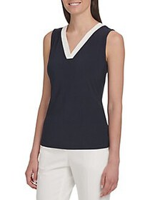 Tommy Hilfiger Contrast Sleeveless V-Neck Top MIDN