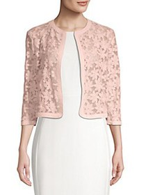 Anne Klein Floral Lace Open-Front Cardigan CHERRY