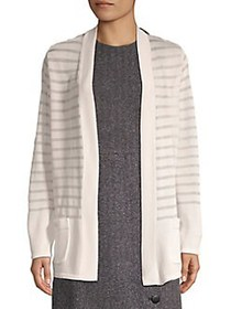 Anne Klein Striped Open Cardigan WHITE