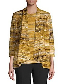 Kasper Horizon-Stripe Illusion Cardigan BUTTERSCOT