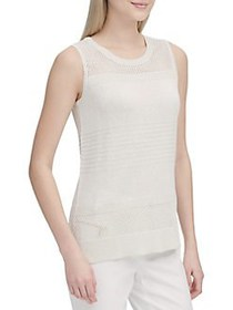 Calvin Klein Perforated Sleeveless Sweater WHITE G