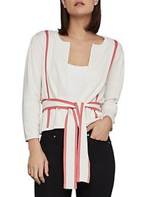 BCBGMAXAZRIA Pleated Belted Cotton Cardigan GARDEN