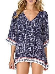 Anne Cole Printed V-Neck Coverup NAVY