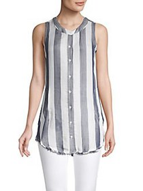 Philosophy Apparel Striped Button-Front Tunic NAVY