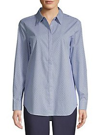 T Tahari Dot-Neat Button Shirt NAVY DOT