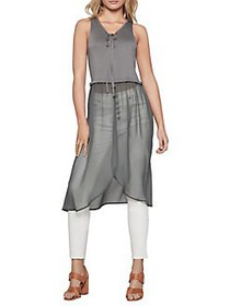 BCBGeneration Easy-Fit Mixed Media Tie Front Top D