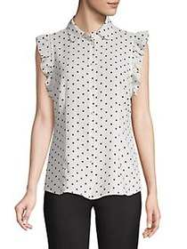 Anne Klein Ruffled Dotted Capsleeve Blouse ANNE WH