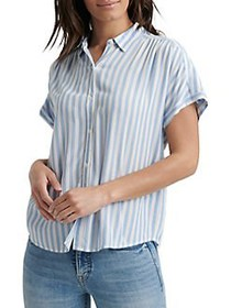 Lucky Brand Striped Collared Top BLUE