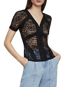 BCBGMAXAZRIA Floral Lace Bodycon Top BLACK