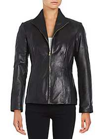 Cole Haan Leather Jacket BLACK