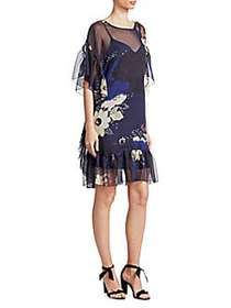 Chloé Printed Shift Dress BLUE MULTI