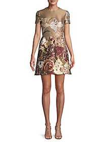 Valentino Floral Short-Sleeve Fit-&-Flare Dress MI