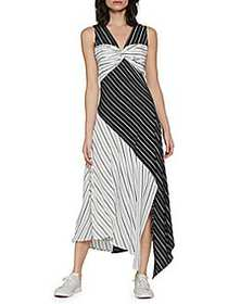 Walter Baker Carrie Mixed Stripe Dress BLACK WHITE