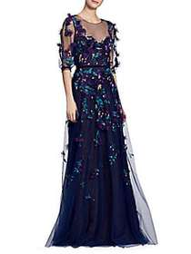 Marchesa Floral Applique Gown NAVY