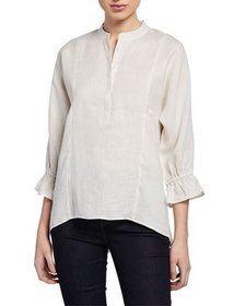 Neiman Marcus 3/4-Sleeve High-Low Linen Blouse
