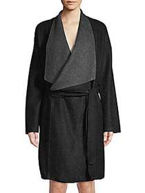 Donna Karan Oversized Collar Robe FADED BLACK