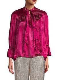 Alice + Olivia Metallic Striped Bell-Sleeve Top RA