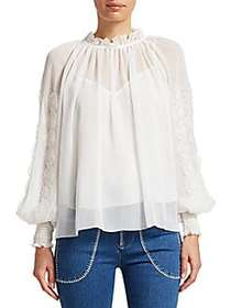 Chloé Floral-Accented Blouse WHITE
