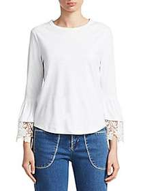 Chloé Lace Bell Sleeve Top WHITE POWDER