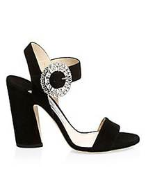 Jimmy Choo Mischa Suede Ankle-Strap Sandals BLACK