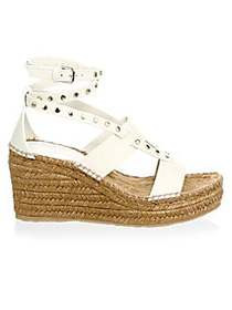 Jimmy Choo Studded Wedge Espadrilles WHITE