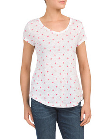 C&C CALIFORNIA Linen Watermelon Print V-neck T-shi