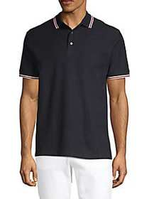 French Connection Textured Cotton Polo BLUE