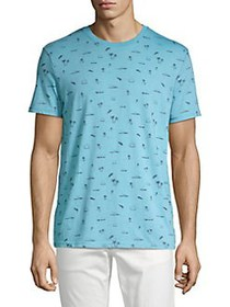 Lucky Brand Summer Icon Burnout Tee DELPHINIUM