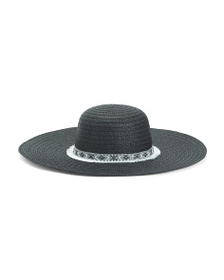 RAMPAGE Straw Sun Hat With Woven Fringe Trim