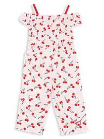 Betsey Johnson Girl's Cherry Printed Jumpsuit PINK