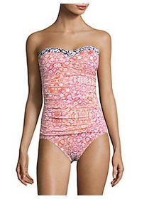 Tommy Bahama Shirred One-Piece Swimsuit CORAL