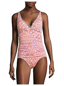 Tommy Bahama V-Neck One-Piece Swimsuit CORAL