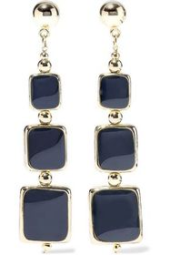 KENNETH JAY LANE 22-karat gold-plated enamel earri