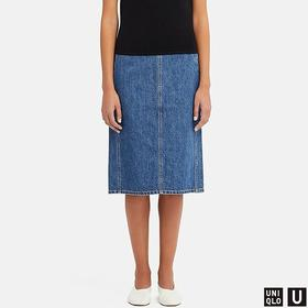 WOMEN U DENIM NARROW SKIRT