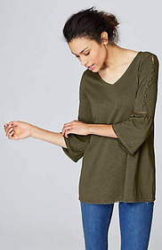 Knit Button-Sleeve Top