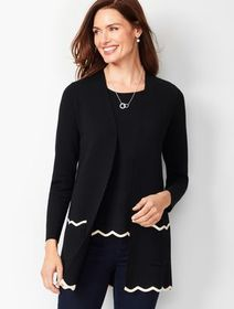 Talbots Open-Front Scalloped Cardigan