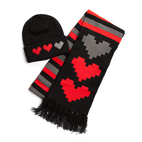 One Heart Down Beanie and Scarf Set