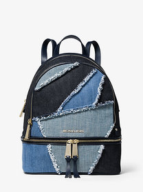 Michael Kors Rhea Medium Frayed Denim Backpack