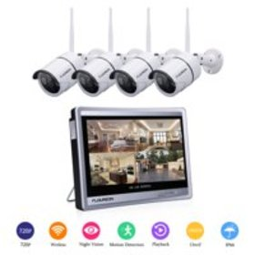 """FLOUREON 4CH 1080P WIFI NVR with 12"""" LCD Monitor W"""