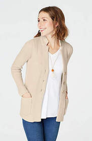 Textured Notched-Collar Cardi