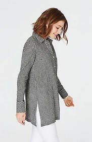Textured-Gingham Button-Front Tunic