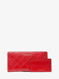 Michael Kors Large Chain-Embossed Leather Slim Wal