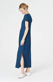 Pure Jill Indigo Shirred-Waist Maxi Dress