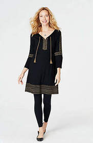 Embroidered Knit Peasant Dress