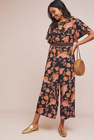 Anthropologie Belted Botanical Jumpsuit